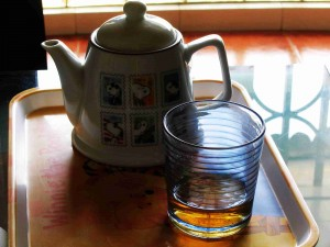 Teapot and glass